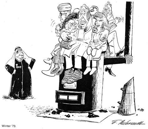 Cartoon by Behrendt on the oil crisis in Europe (1973